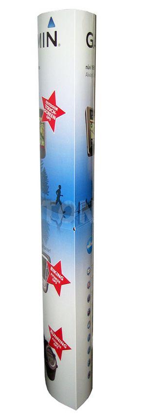 colonne publicitaire - totem plv de forme elliptique vue de côté