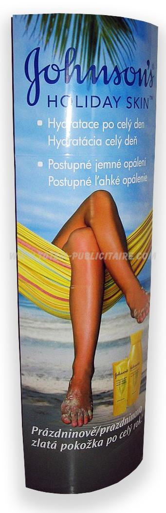 totem signalétique - totem elliptique publicité pour crème solaire