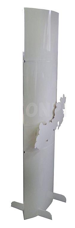 totem carton - totem elliptique blanc avec motif de fleurs au centre