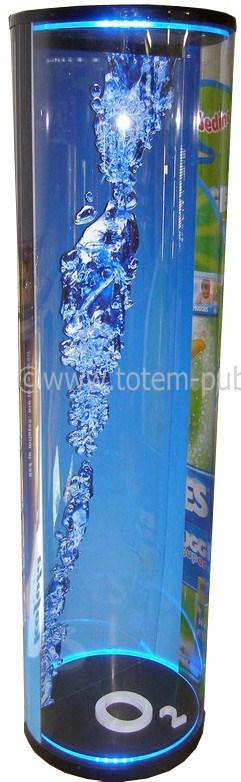 totem promo - totem fait de carton et de plastique avec une embase éclairée, semi-transparent